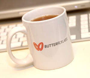 Butterfly Labs coffee cup - photo by BitcoinNe.ws
