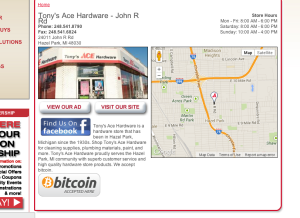 ACE hardware accepts bitcoin