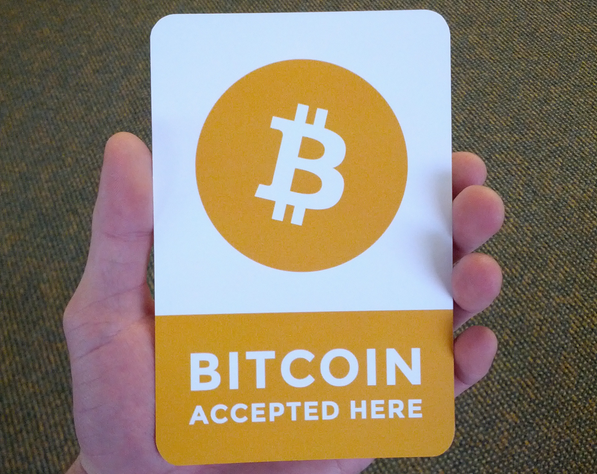 Bitcoin Accepted Here logo stickers printable design