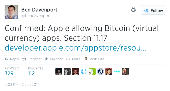 apple allows bitcoin